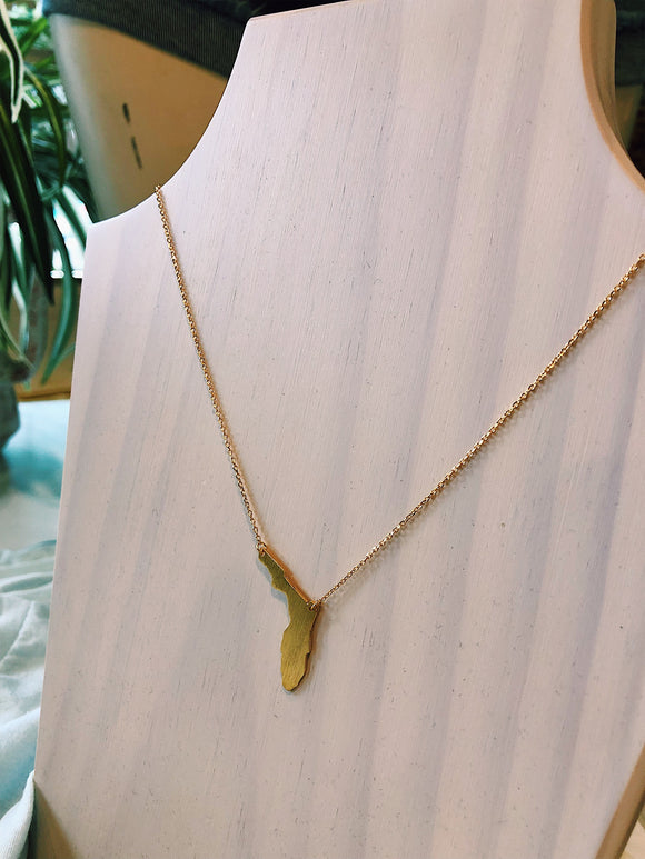 Dainty State of Florida Necklace- Gold