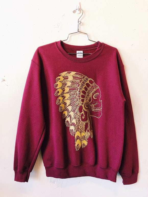 The Headdress Sweatshirt- Garnet