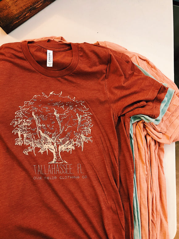 The Tallahassee Tree Tee- Heather Rust