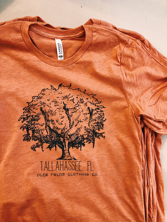 The Tallahassee Tree Tee- Heather Sunset