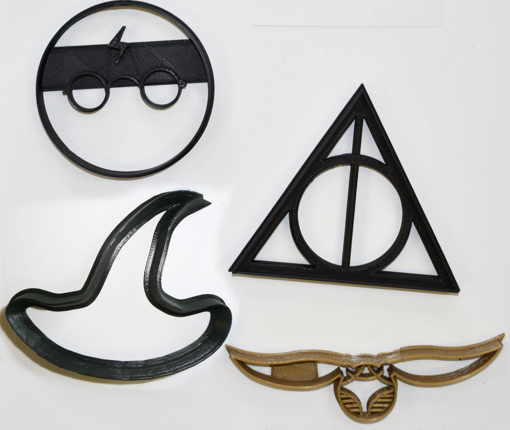 Harry Potter Wizard Deathly Hallows Symbol Golden Snitch Witch Hat Set Of 4 Special Occasion Cookie Cutters Baking Tool Made In USA PR1071