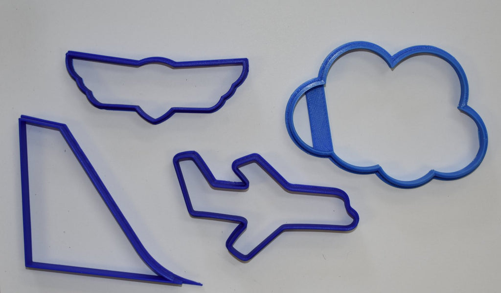 "Airplane Wings Logo Tail Fin Cloud Set Of 4 Special Occasion Fondant Stamp Cutter or Cupcake Topper Size 1.75"" Made in USA FD1076"