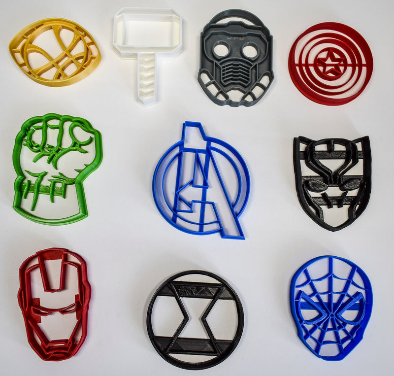 "Avengers Infinity War Marvel Characters Logos Set Of 10 Special Occasion Fondant Stamp Cutter or Cupcake Topper Size 1.75"" Made in USA FD1089"