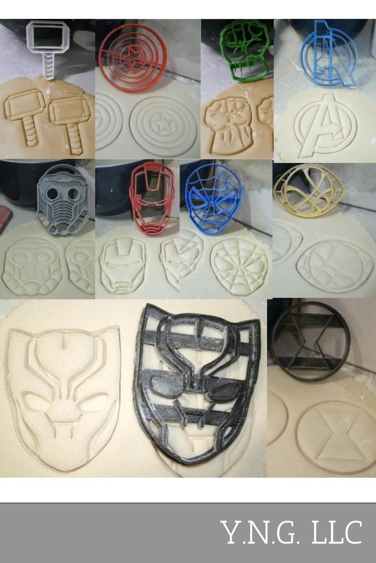 Avengers Infinity War Marvel Characters Logos Set Of 10 Special Occasion Cookie Cutters Baking Tool Made In USA PR1089
