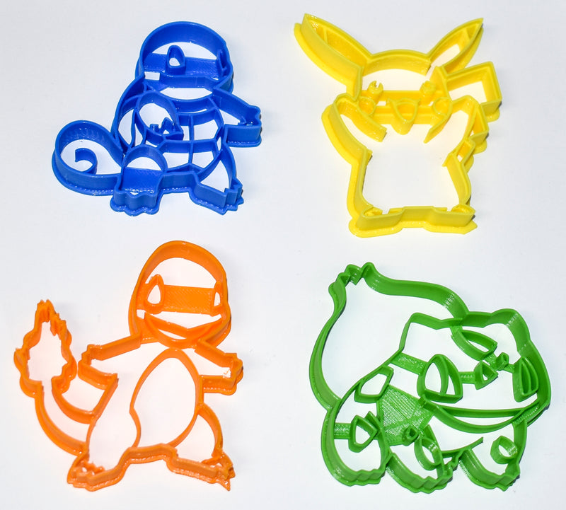 "Pokemon Starter Kit Pikachu Bulbasaur Charmander Squirtle Set Of 4 Special Occasion Fondant Stamp Cutter Or Cupcake Topper Size 1.75"" Made In USA FD1101"