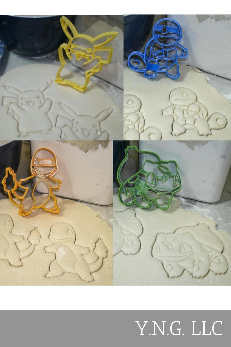 Pokemon Starter Kit Pikachu Bulbasaur Charmander Squirtle Set Of 4 Special Occasion Cookie Cutters Baking Tool 3D Printed Made In USA PR1101