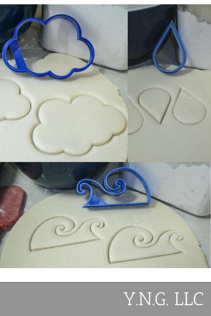 Water Cycle Cloud Raindrop Ocean Wave Set Of 3 Special Occasion Cookie Cutters Baking Tool 3D Printed Made In USA PR1107