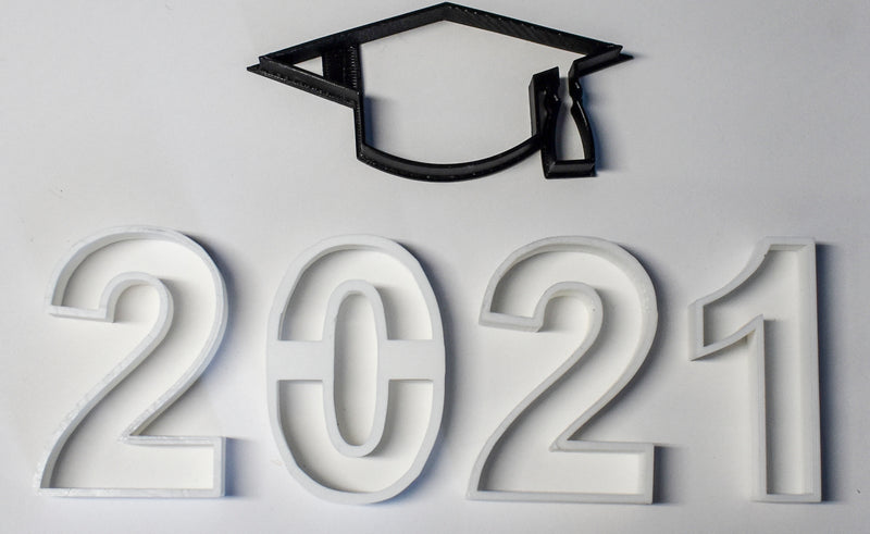 "Graduation Celebration Kit Year 2021 Cap Numbers Two Zero Two One Set Of 5 Special Occasion Fondant Stamp Cutters Or Cupcake Toppers Size 1.75"" Made In USA FD1113"