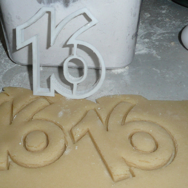 SIXTEEN NUMBER 16 COOKIE CUTTER FONDANT SPECIAL OCCASION 3D PRINTED USA PR299
