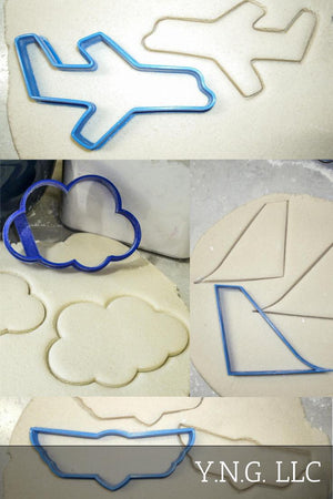 Airplane Plane Aircraft Wings Logo Flying Set Of 4 Cookie Cutters USA PR1076