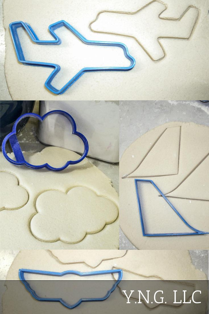 Airplane Wings Logo Tail Fin Cloud Set Of 4 Special Occasion Cookie Cutters Baking Tool Made In USA PR1076