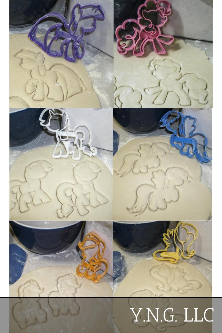 My Little Pony Friendship is Magic Mane 6 Animated Characters Set of 6 Cookie Cutter Cake Baking Tool Made in USA PR1077