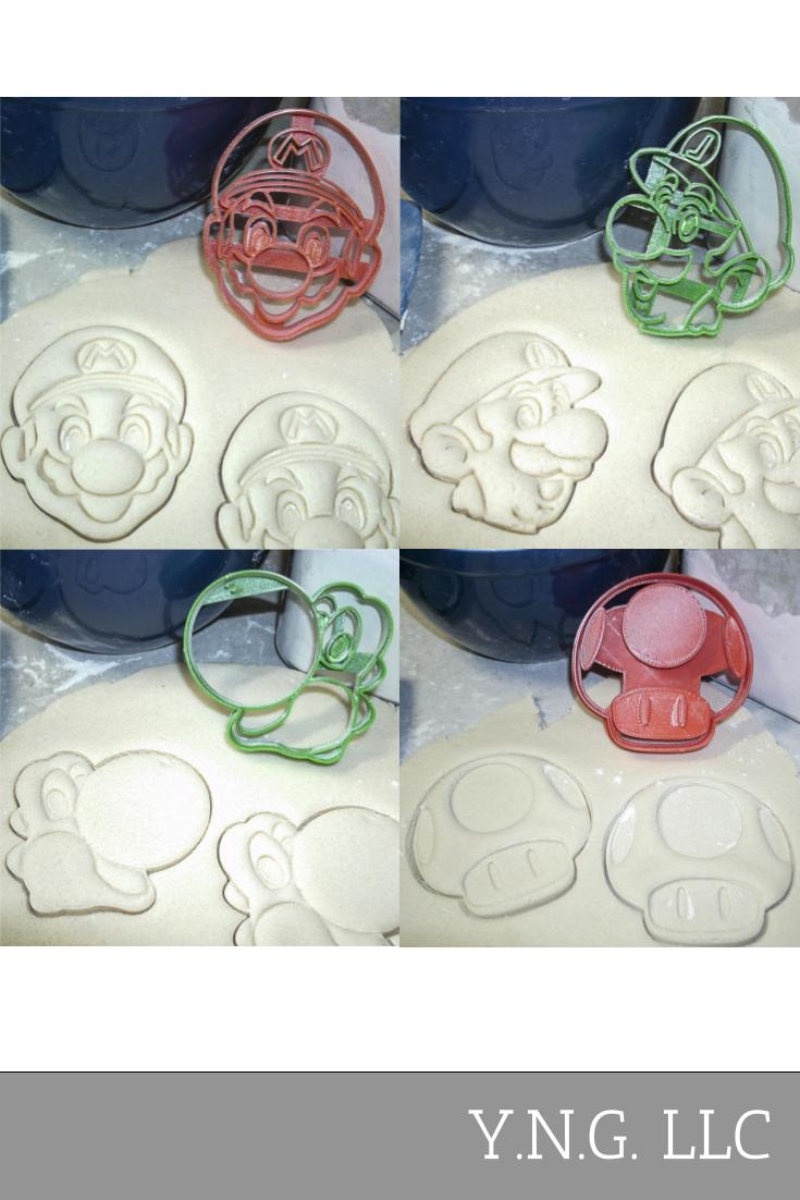 Super Mario Brothers Characters Luigi Yoshi Mushroom Set Of 4 Special Occasion Cookie Cutters Baking Tool Made In USA PR1082