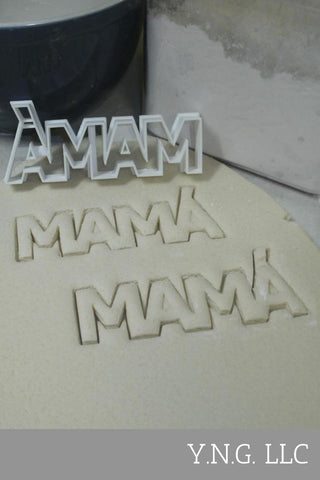 "Mama With Accent Spanish Word Letters Mom Mommy Mother Special Occasion Fondant Stamp Cutter or Cupcake Topper Size 1.75"" Made in USA FD647"