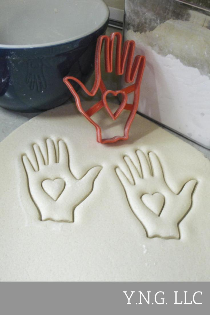 Hand with Heart Charity Symbol John Calvin Special Occasion Cookie Cutter Baking Tool Made in USA PR606