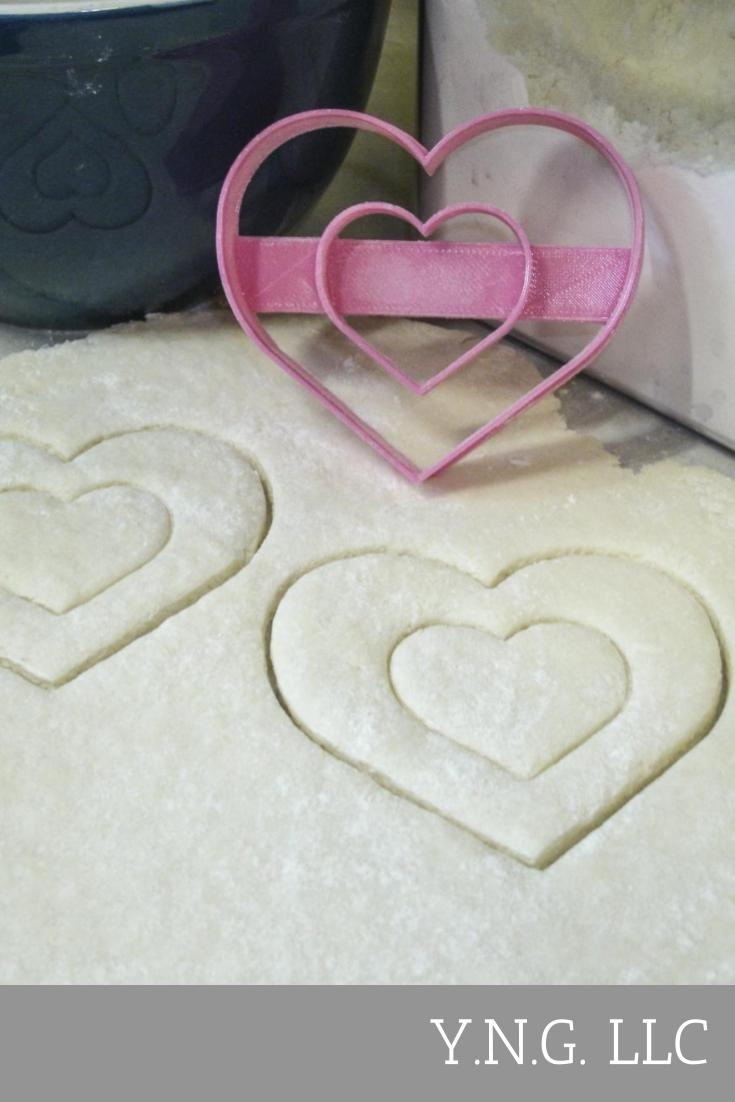 Double Heart Love Bridal Shower Wedding Anniversary Valentine Special Occasion Cookie Cutter Baking Tool 3D Printed Made In USA PR301