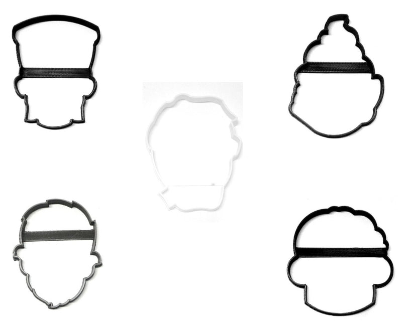 Monster Faces Outlines Halloween Set Of 5 Cookie Cutters USA PR1384