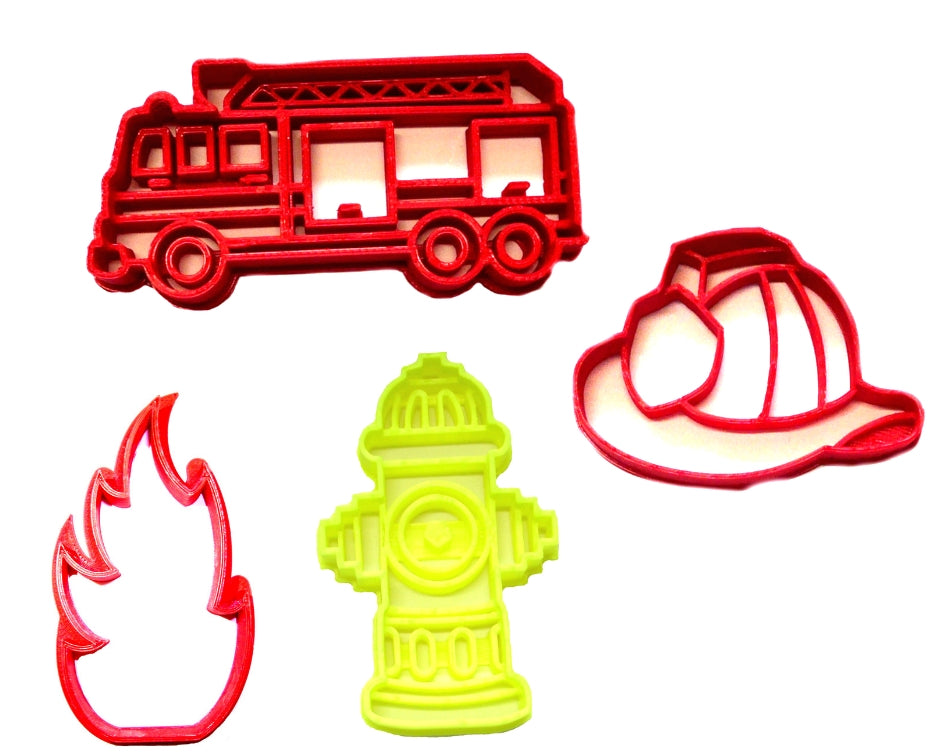 Firefighter Fireman Detailed Fire Truck Set Of 4 Cookie Cutters USA PR1397