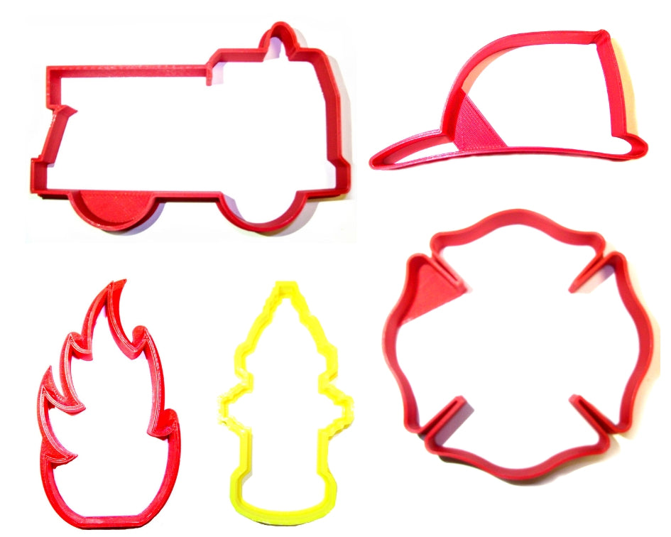 Firefighter Fireman Outlines Fire Truck Set Of 5 Cookie Cutters USA PR1398