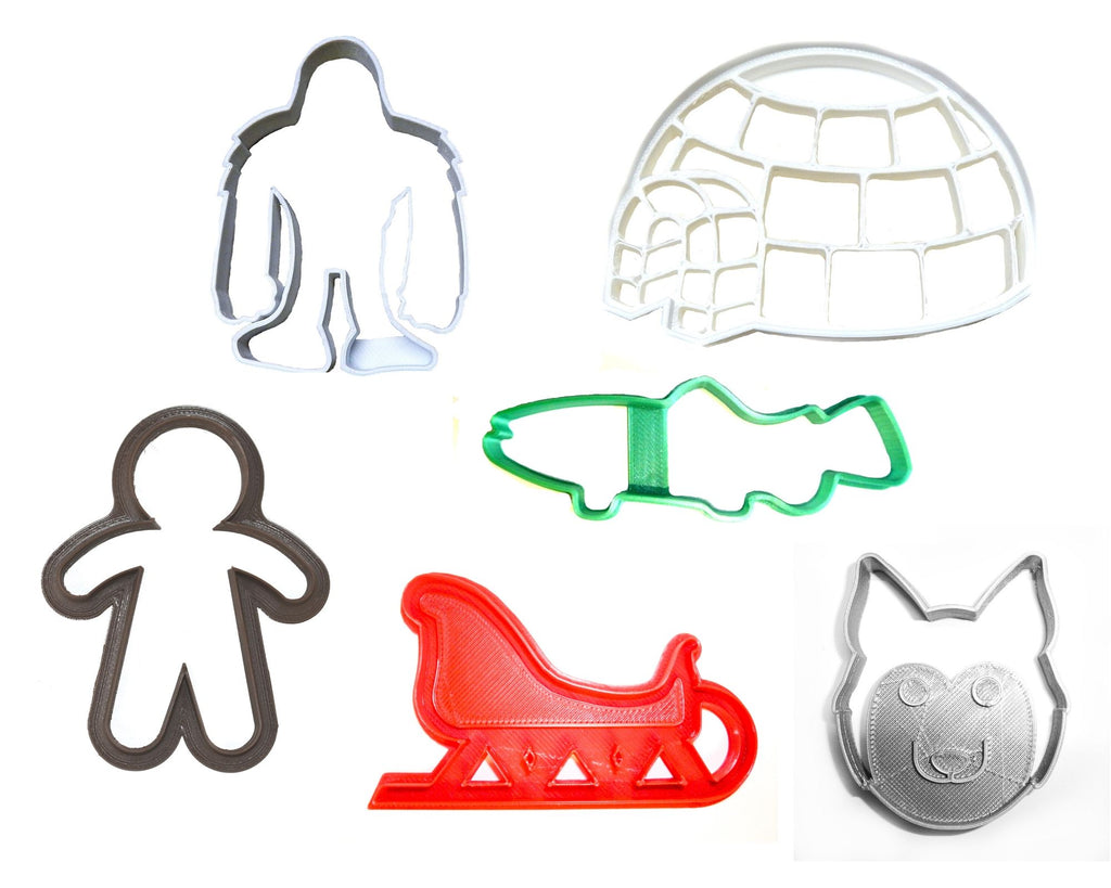 Eskimo Kit Igloo Husky Sled Fish Winter Snow Set Of 6 Cookie Cutters USA PR1407