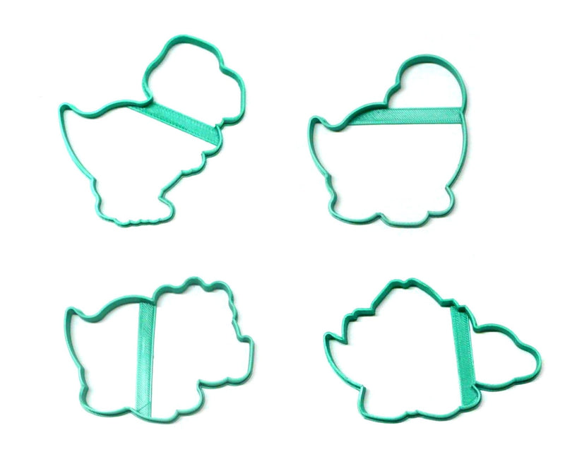 Dinosaur Outlines Dino Extinct Reptile T Rex Set Of 4 Cookie Cutters USA PR1412