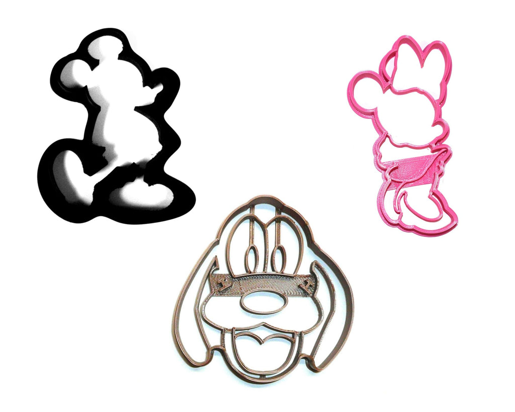 Mickey And Minnie Mouse With Pluto The Pup Set Of 3 Cookie Cutters USA PR1413