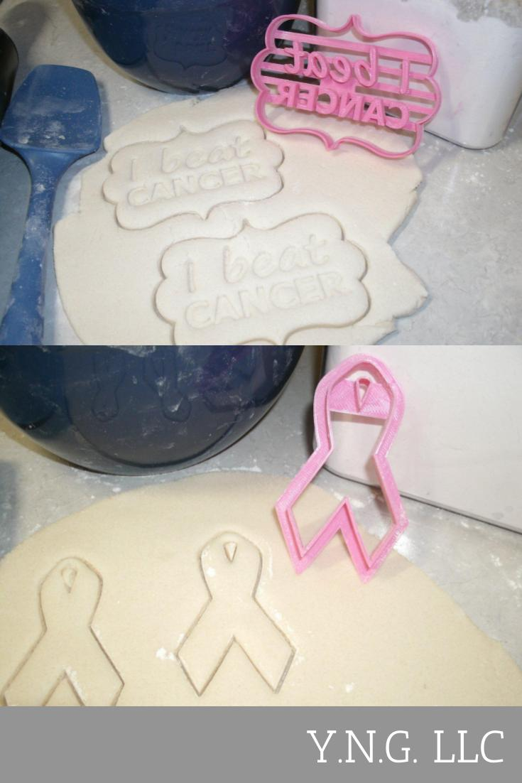 I Beat Cancer Celebration Party Ribbon Set Of 2 Cookie Cutters USA PR1006