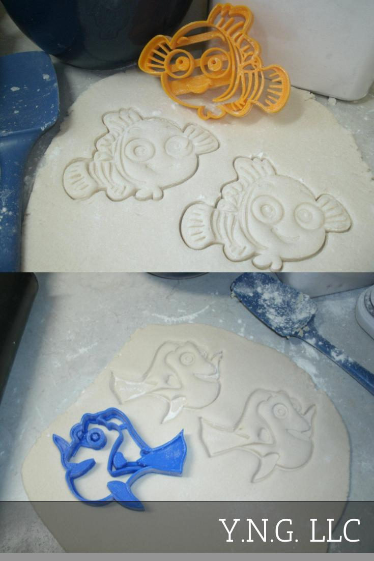 Finding Dory Nemo Fish Ocean Sea Aquarium Disney Pixar Kids Cartoon Movie Characters Set Of 2 Special Occasion Cookie Cutter Baking Tool 3D Printed USA PR1046