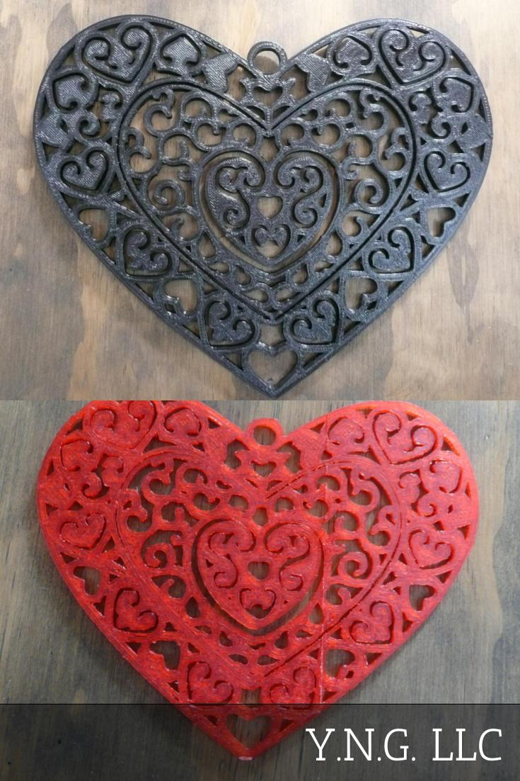Heart Love Home Decor Wall Art Happy Valentine's Day 3D Printed Made in the USA PR196