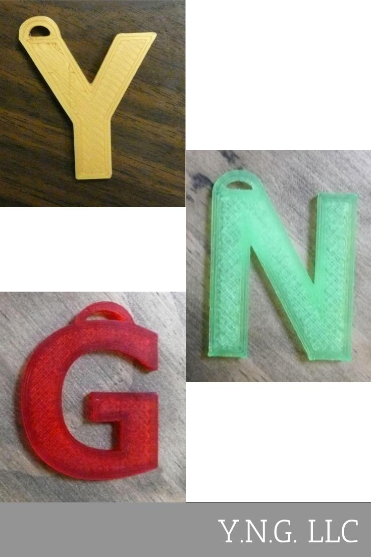 3 Letter Tags Ornament Keychain Gift Tag Key Chain Alphabet Initial 3D PR132
