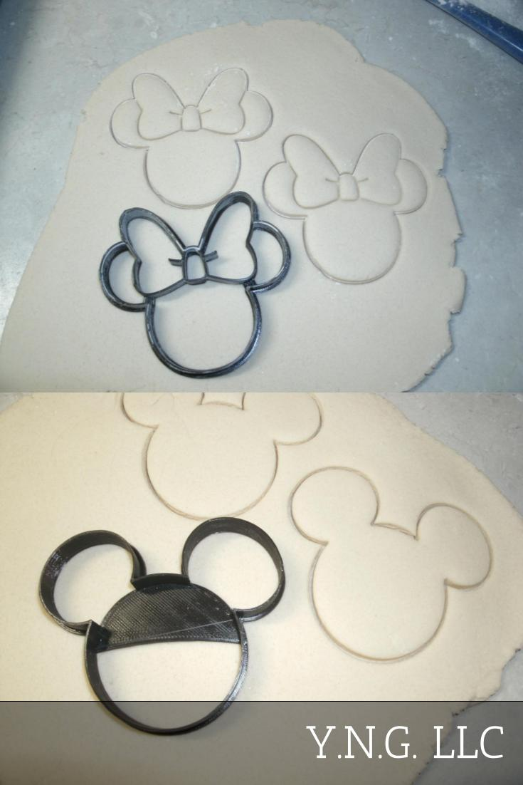 Mickey and Minnie Mouse Head Ear Outlines Set Of 2 Cookie Cutters USA PR1017