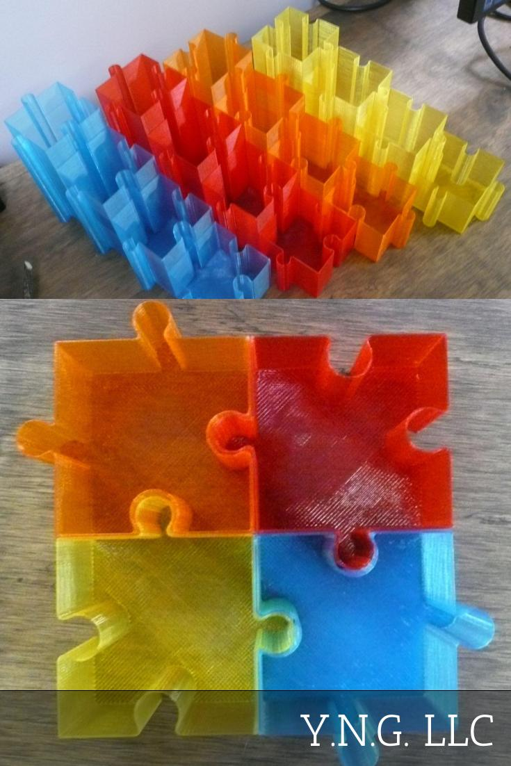 Puzzle Organizer Set Of 4 Pen Holder Office Home Storage 3D Printed USA PR117-4
