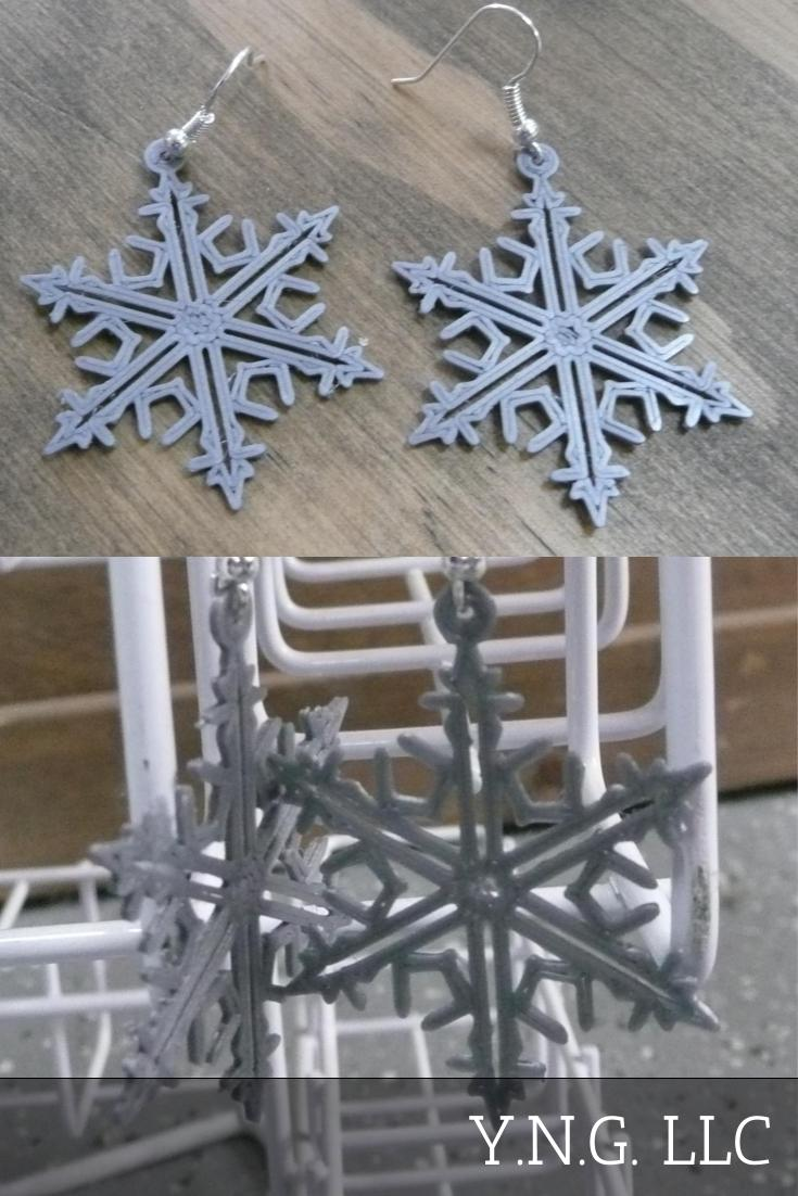 Snowflake Christmas Earrings Jewelry 3d Printed Made In USA PR131