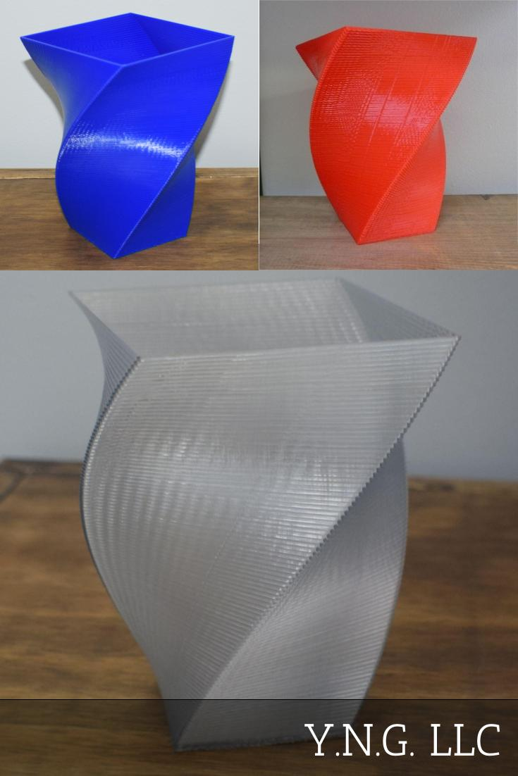 Square Twist Vase Home Decor Twisted Block Decorative Gift 3d Printed Made in the USA PR1