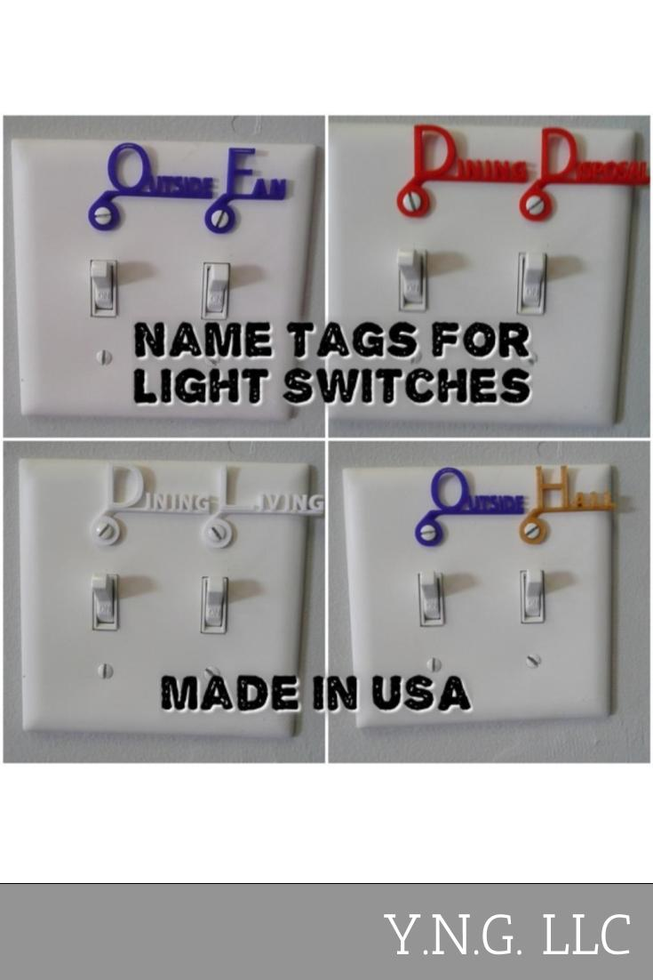 Light Switch Cover Name Tag Label Home Organization Set of 4 3D Printed Made in USA PR106