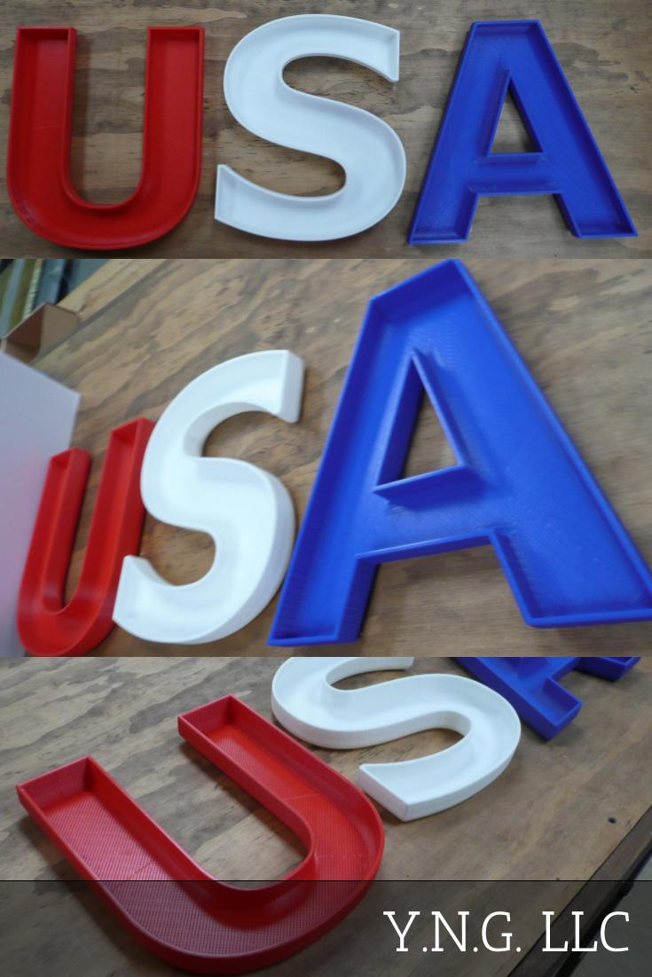 USA United States Of America Candy Dish Letter Bowl Home Office Decor Patriotic 3D Printed Made in the USA PR374 PR375 PR376