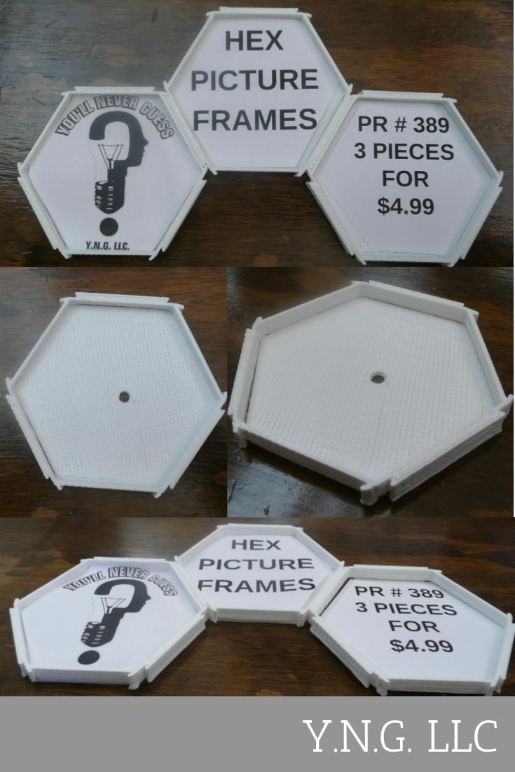 3 Piece Hex Hexagon Connecting Snappable Picture Frame Set Home Decor 3D Printed Made in the USA PR389