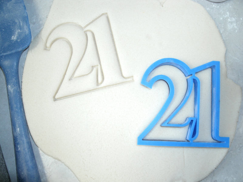 Number 21 Twenty-one 21st Birthday Special Occasion Cookie Cutter Baking Tool Made in USA PR108-21