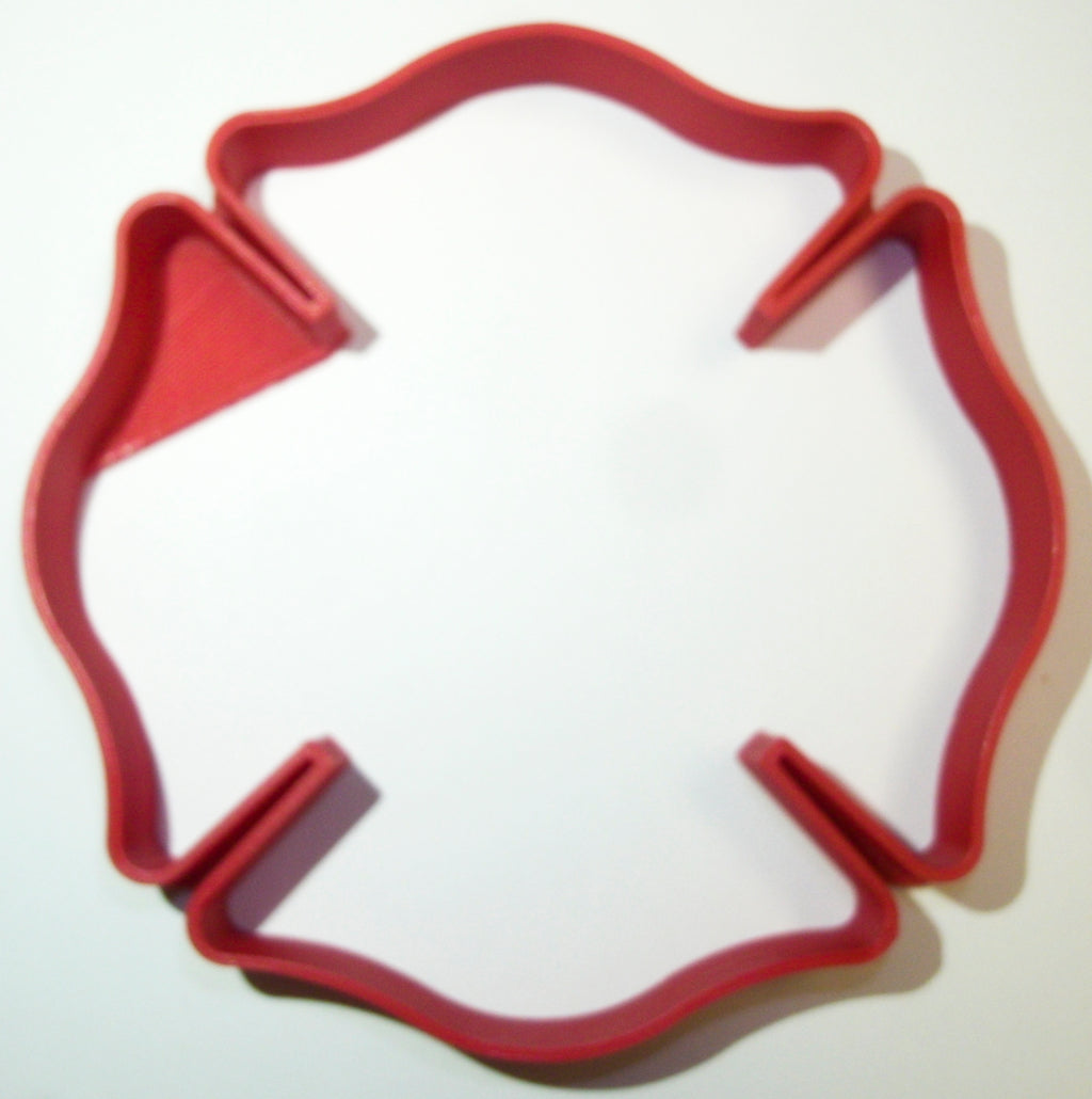 "Fire Rescue Department Station Logo Cross Symbol Special Occasion Fondant Stamp Cutter or Cupcake Topper Size 1.75"" Made in USA FD911"