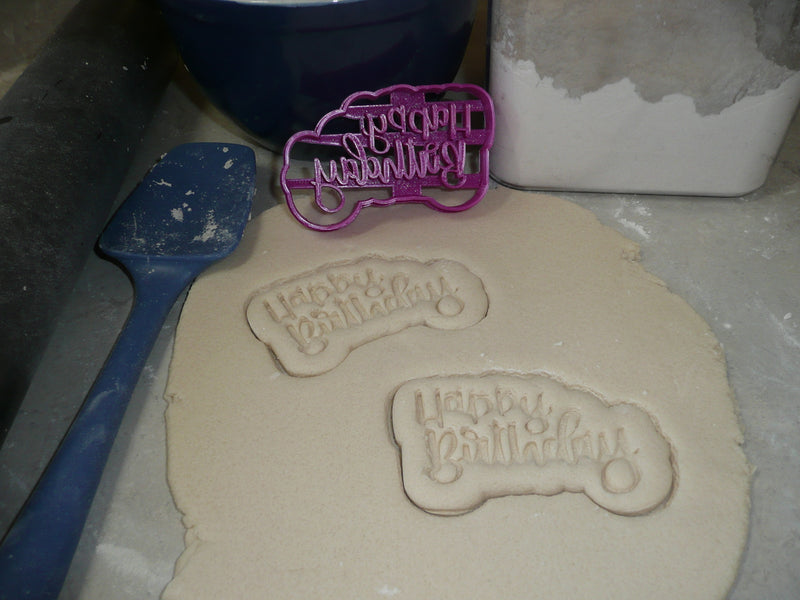 Happy Birthday Words Fun Font Party Celebration Cookie Cutter USA PR2514