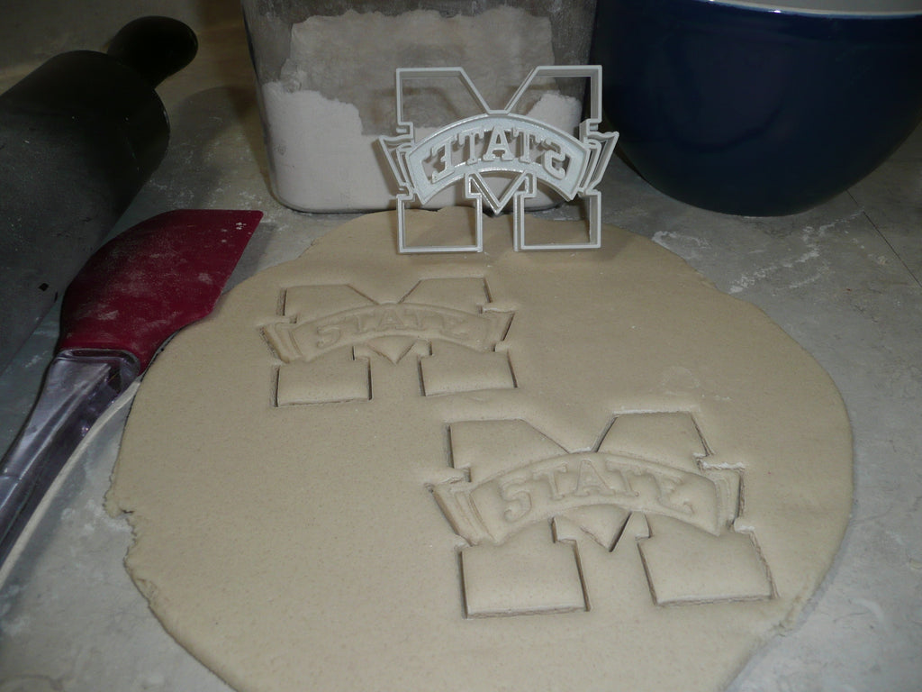 Mississippi State University Bulldogs M Logo Team Sports Athletics Special Occasion Cookie Cutter Baking Tool Made In USA PR2350