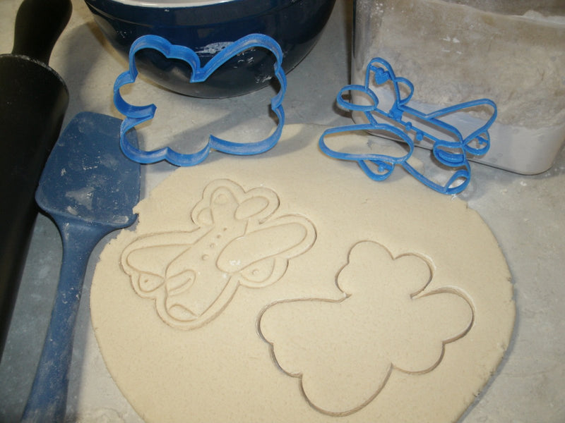 Airplane Jet Plane Cookie Cutter and Stamp Special Occasion Baking Tool Made in USA PR673
