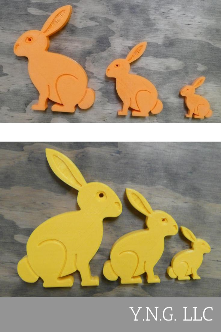 3 Pc Set Easter Bunny Home Decor Holiday Spring Decoration 3D Printed Made In The USA