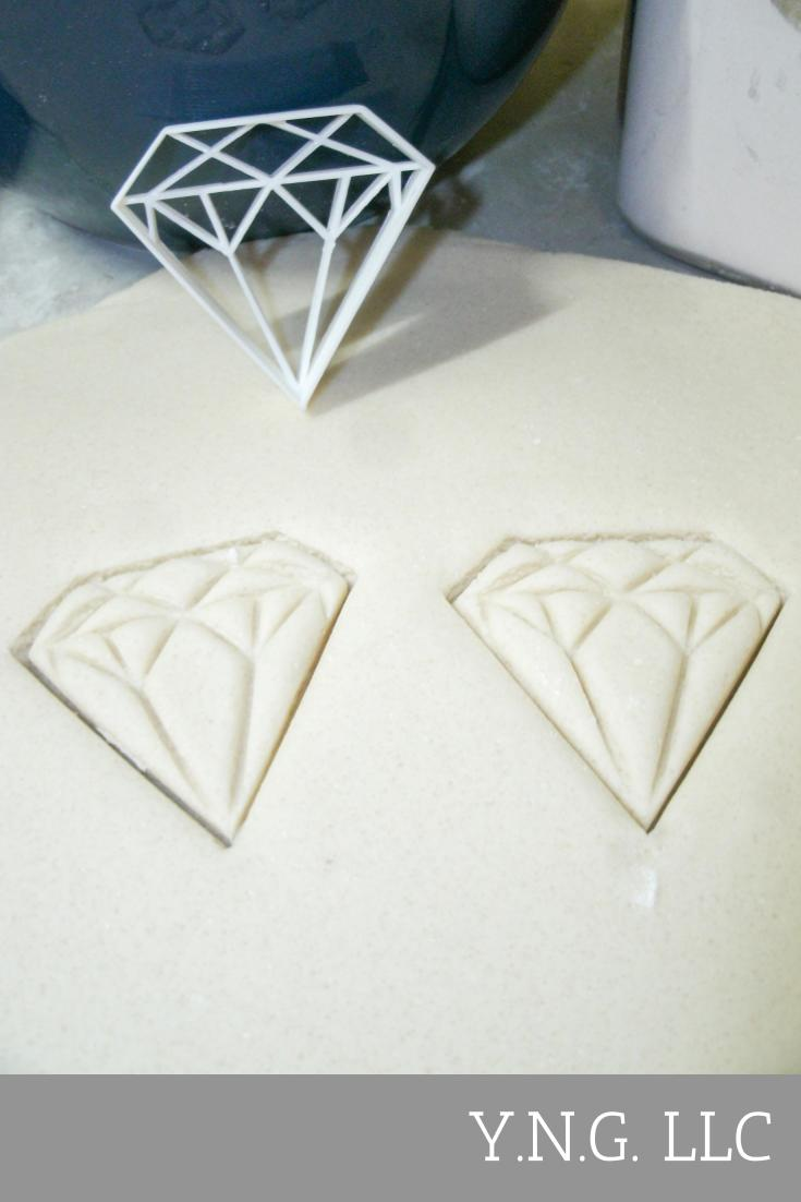 Diamond Rock Stone Engagement Wedding Bridal Shower Special Occasion Cookie Cutter Baking Tool Made In USA PR406