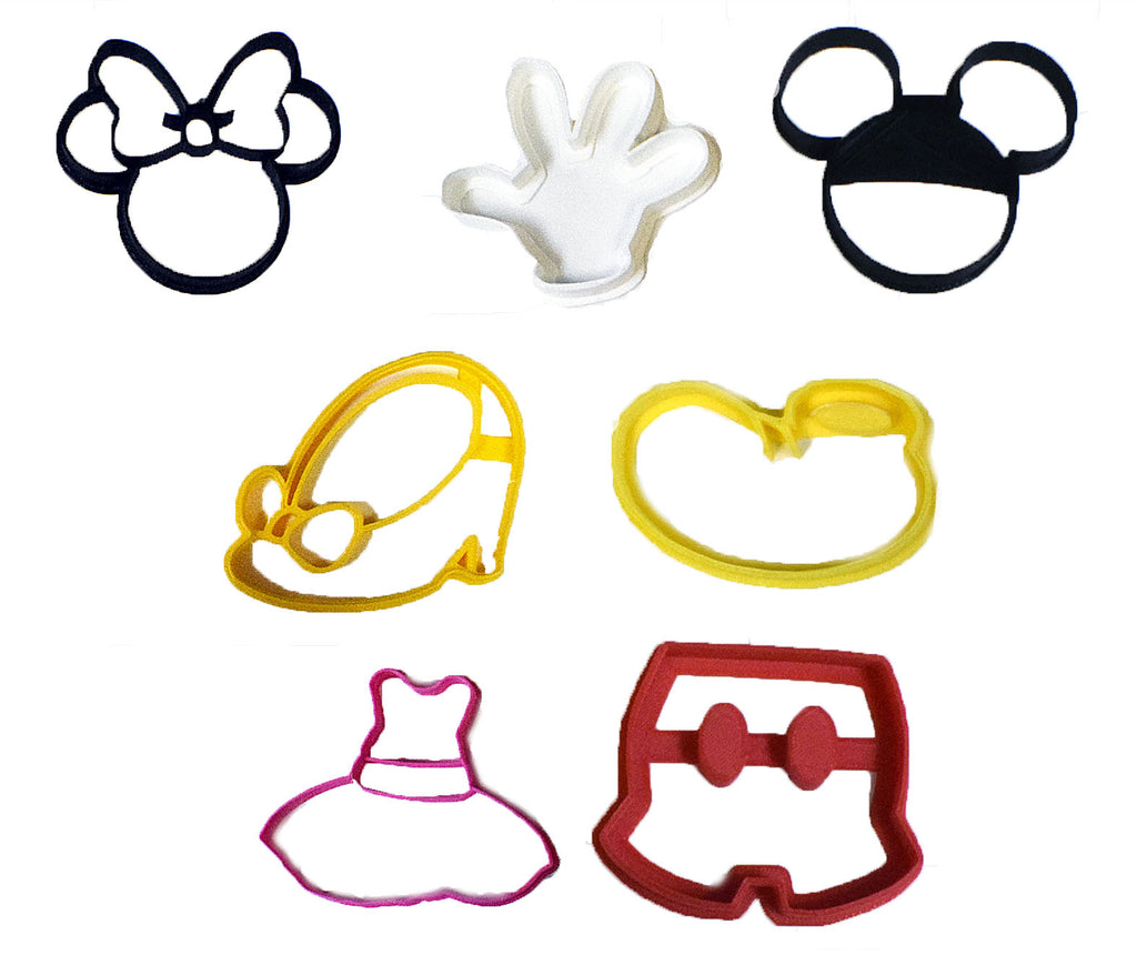 "Mickey Mouse & Minnie Mouse Walt Disney Character Set of 7 Special Occasion Fondant Stamp Cutter Or Cupcake Topper Size 1.75"" Made In USA FD577"