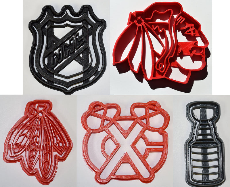 "Chicago Blackhawks Logos NHL National Hockey League Stanley Cup Set Of 5 Special Occasion Fondant Stamp Cutter Or Cupcake Topper Size 1.75"" Made In USA FD645"