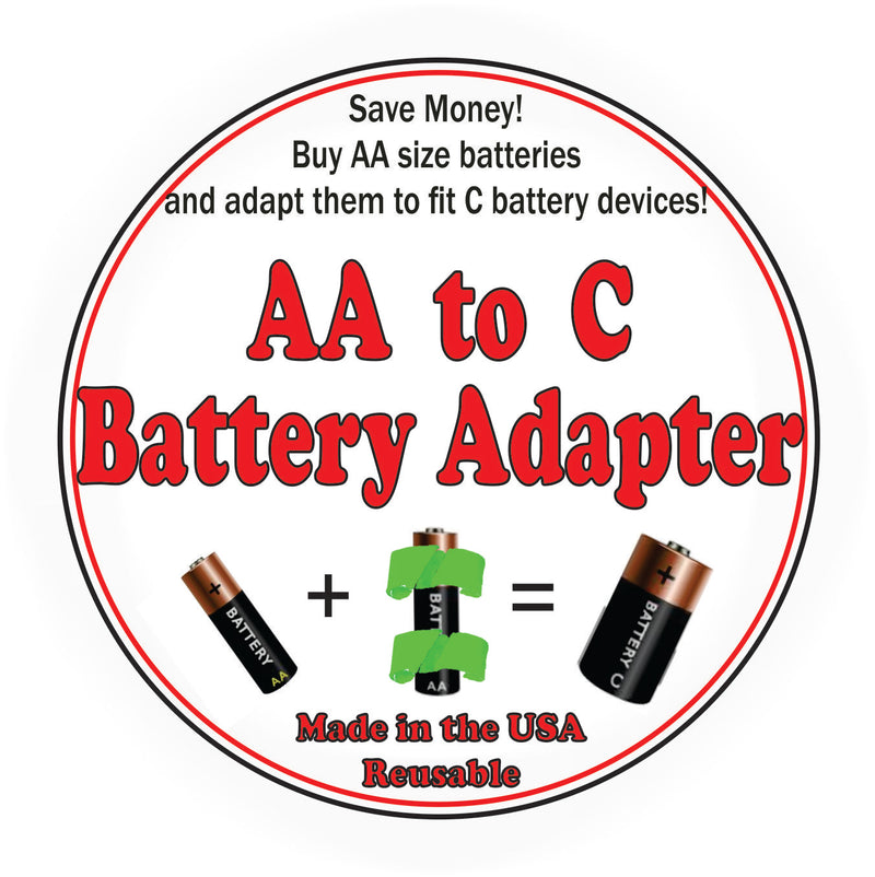 Battery Adapter Converter Case Size AA To C Batteries 3D Printed Made in USA PR15