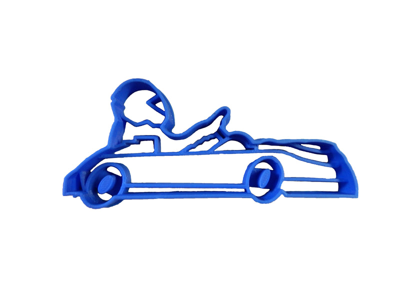 "Go Kart Racing Sports Gokart Driver Race Street Track Go Cart Open Wheel Car Motor Electric Engine Amusement Park Fondant Stamp Cutter Or Cupcake Topper Size 1.75"" Made In USA FD2231"