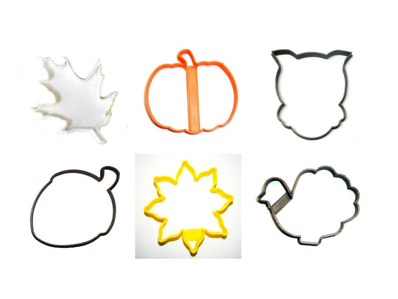 Fall Nature Acorn Pumpkin Turkey Sunflower Set Of 6 Cookie Cutters USA PR1531