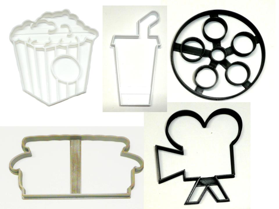 Movie Night Popcorn Soda Couch Family Time Set Of 5 Cookie Cutters USA PR1533